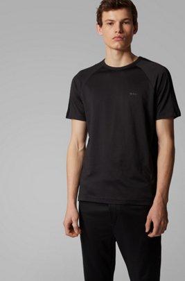 Crew-neck T-shirt with logo-embossed piqué stripes, ブラック