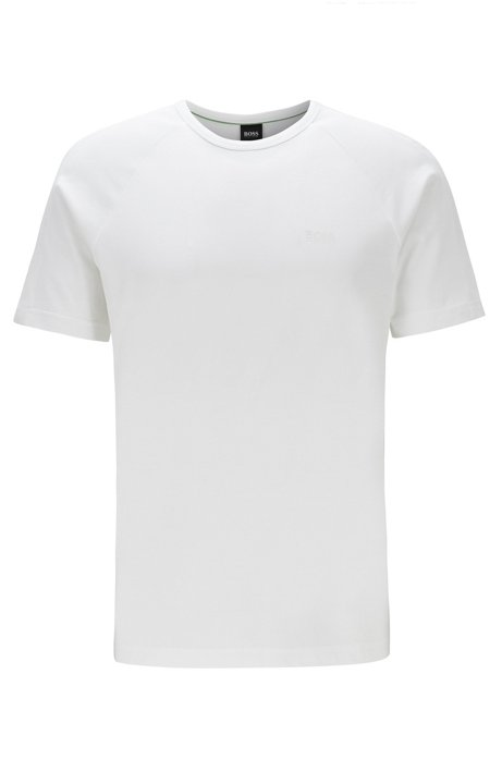Crew-neck T-shirt with logo-embossed piqué stripes, White