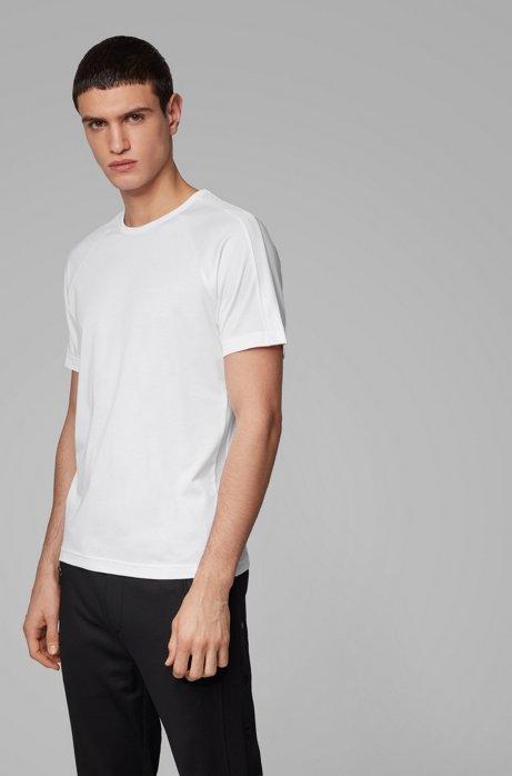 T-Shirt aus Jersey mit Rundhalsausschnitt und Piqué-Streifen mit Logo, Weiß