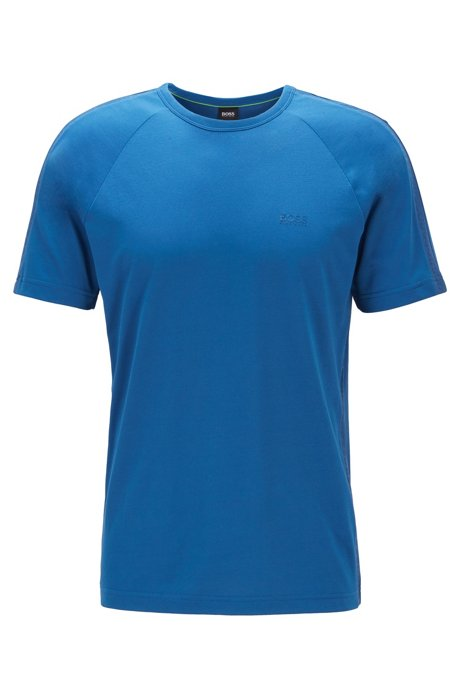 Crew-neck T-shirt with logo-embossed piqué stripes, Blue