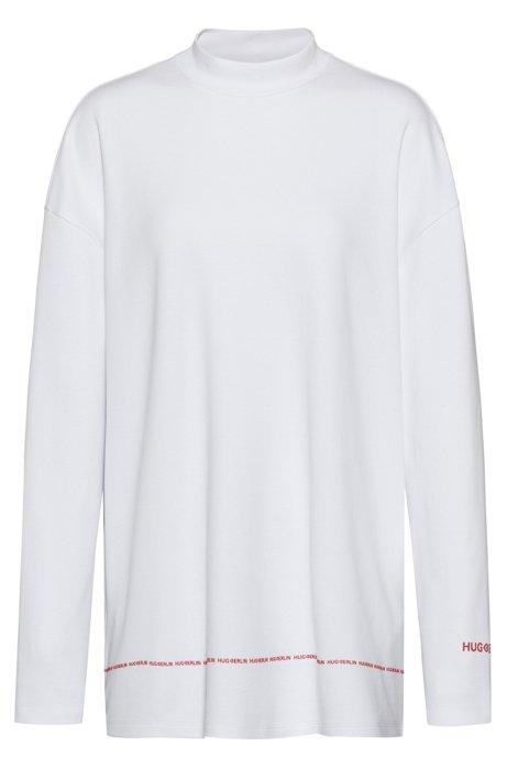 Sweatshirt aus Interlock-Baumwolle mit Logo-Details, Weiß