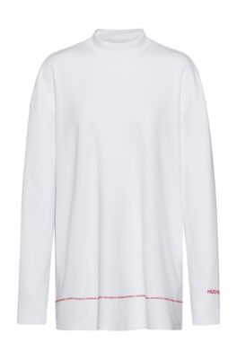 Relaxed-fit sweatshirt in interlock cotton with logo details, White