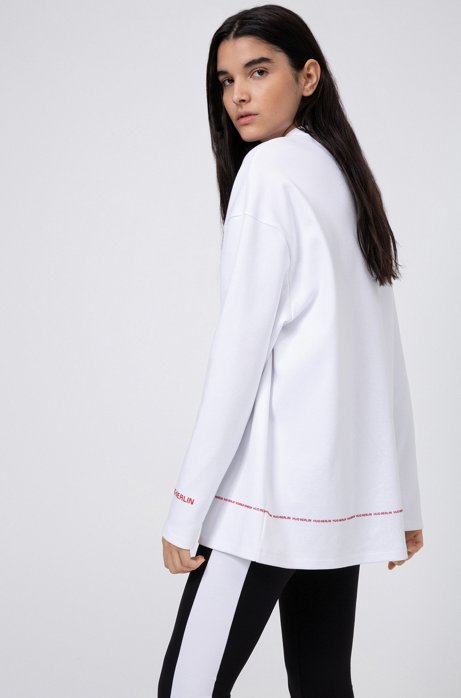 Sweat Relaxed Fit en coton interlock à logos, Blanc
