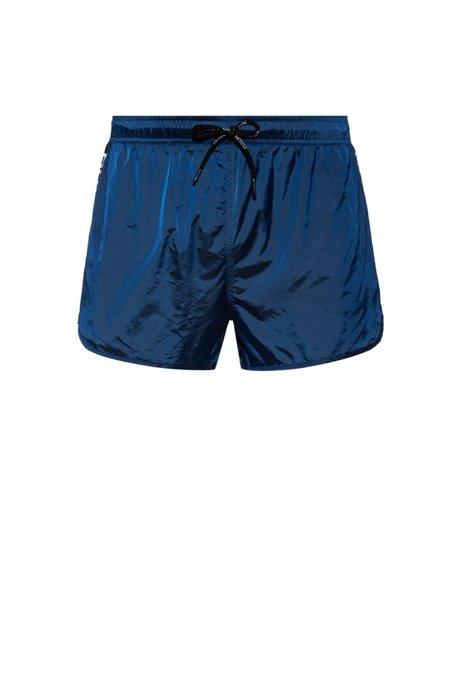 Short de bain en tissu à séchage rapide avec rayures à logo inversé, Bleu