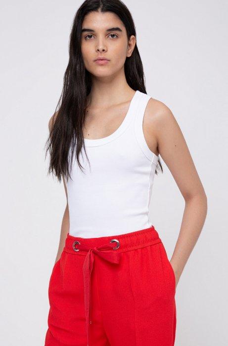 Canotta con spalline incrociate in jersey elasticizzato a coste, Bianco