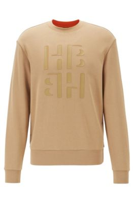 Regular-fit sweater van badstof met monogramprint, Lichtbruin