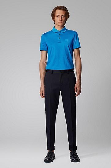 男士丝光棉平针织面料修身 Polo 衬衫,  426_中蓝色