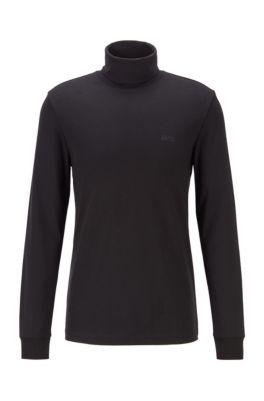 Slim-fit T-shirt van katoen met col en lange mouwen, Zwart