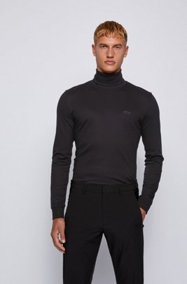 Slim-fit turtleneck T-shirt in cotton with long sleeves, Black
