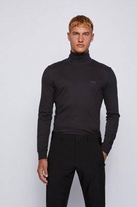 T-shirt Slim Fit en coton, à manches longues et col cheminée, Noir