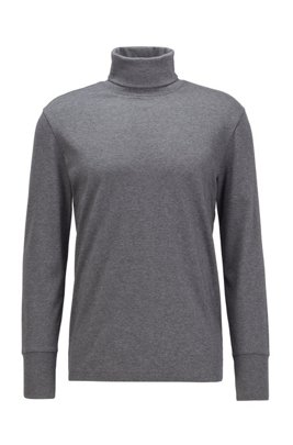 Slim-fit turtleneck T-shirt in cotton with long sleeves, Grey