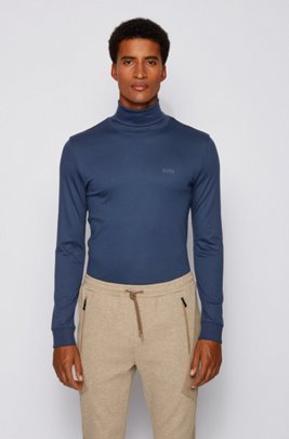 Slim-fit turtleneck T-shirt in cotton with long sleeves, Dark Blue