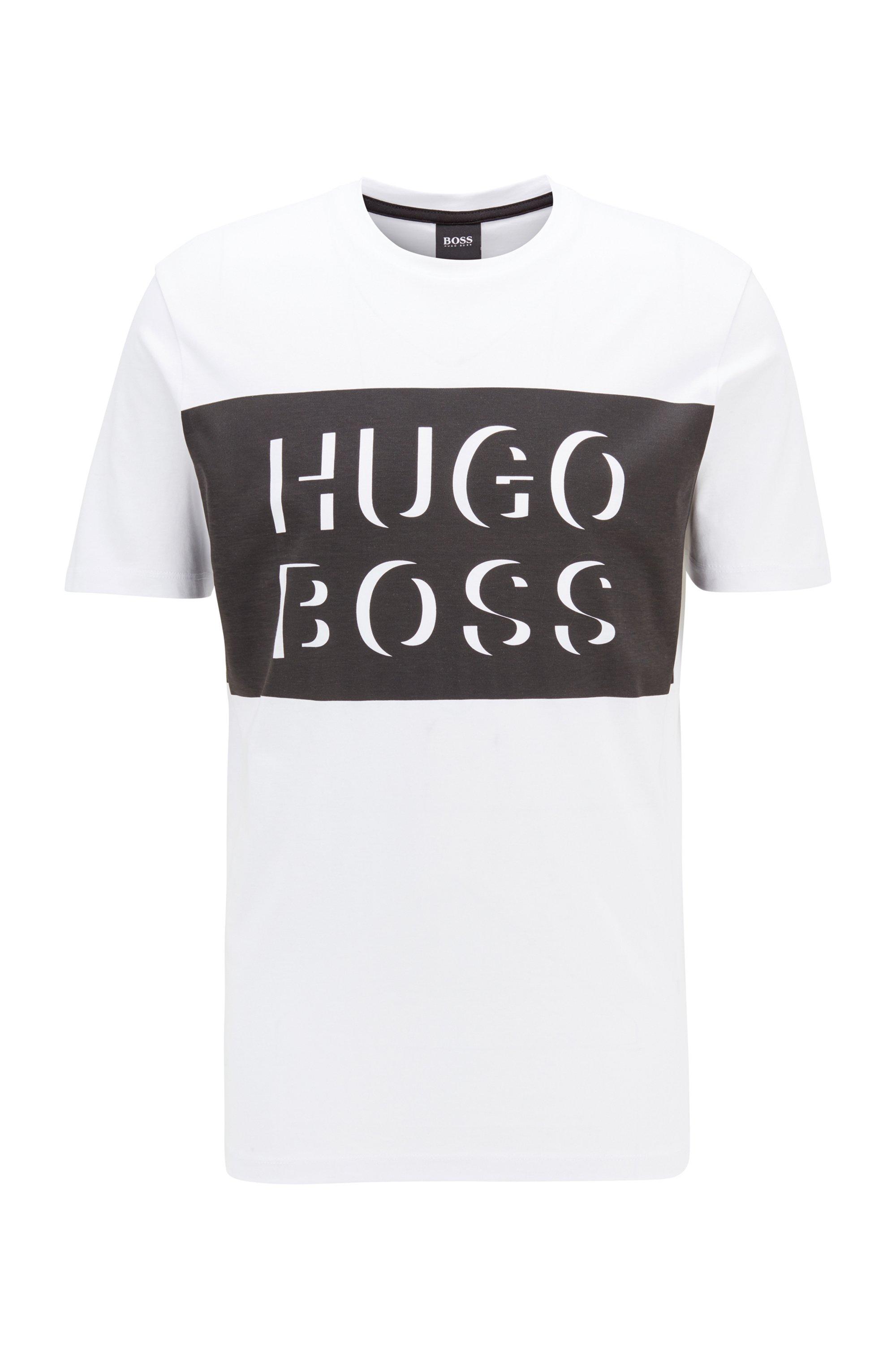 T-shirt à col rond en jersey de coton, à logo imprimé, Noir