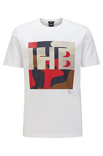 男士字母印花短袖T恤,  100_白色