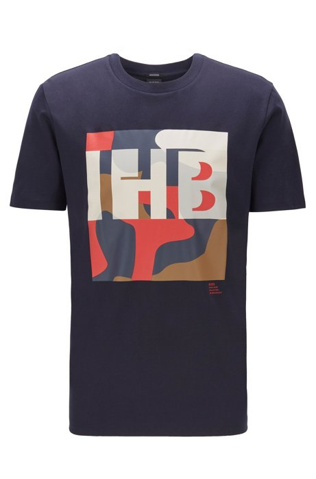 Cotton T-shirt with monogram and camouflage print, Dark Blue