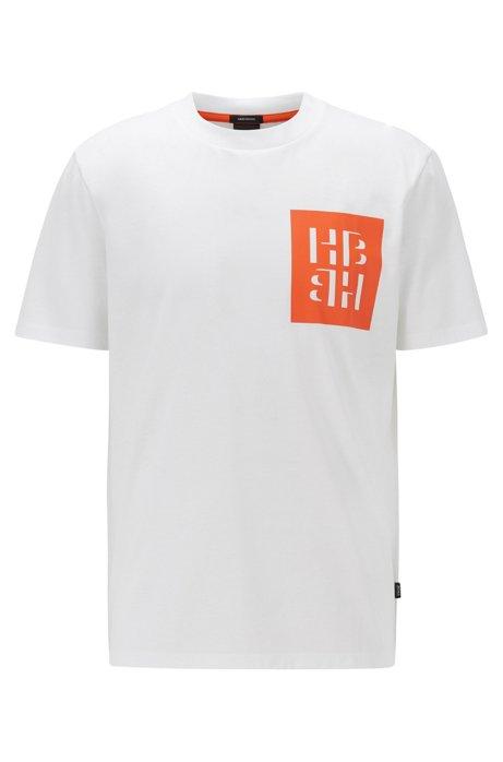 T-shirt Regular Fit en coton à imprimé monogramme, Blanc
