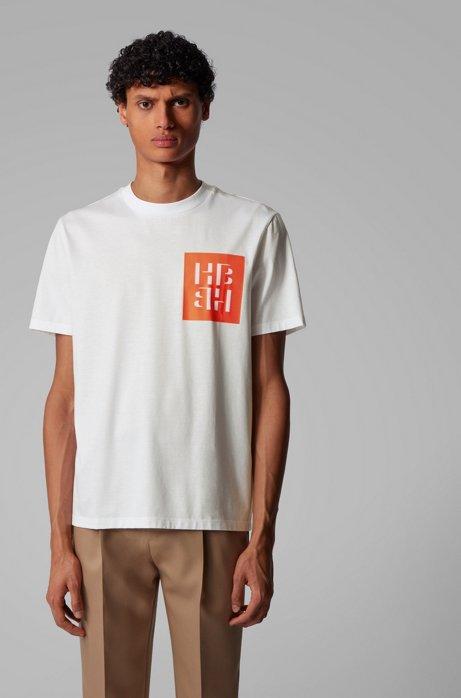 T-Shirt aus Baumwolle mit Monogramm-Print, Weiß
