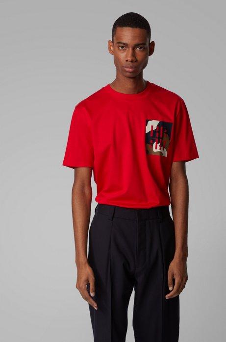 T-Shirt aus Baumwolle mit Monogramm-Print, Rot