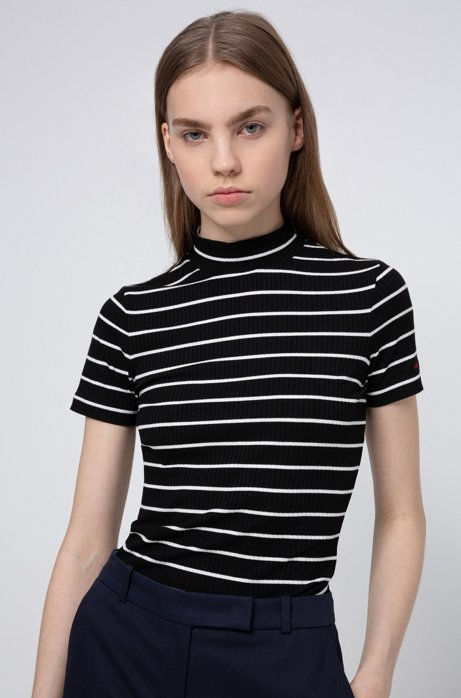Short-sleeved striped top in ribbed stretch jersey, Black