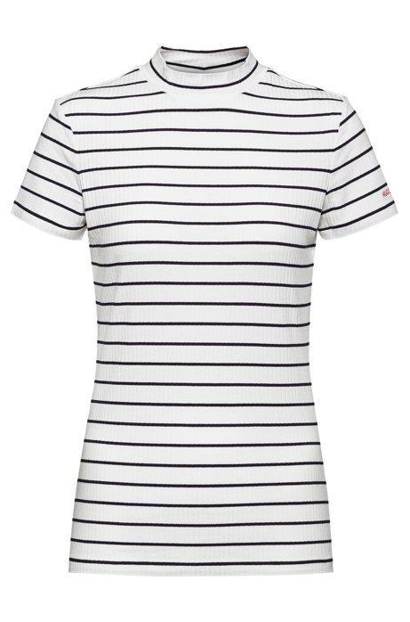 Short-sleeved striped top in ribbed stretch jersey, White