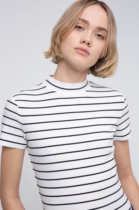 Maglia a maniche corte a righe in jersey elasticizzato a coste, Bianco