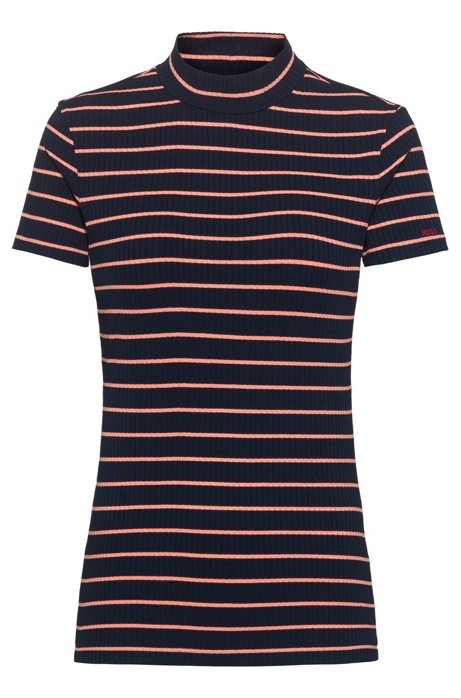 Short-sleeved striped top in ribbed stretch jersey, Dark Blue