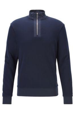 Sudadera regular fit con cremallera corta de felpa de algodón, Azul oscuro