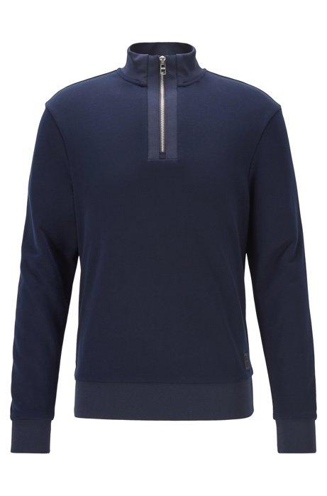 Sweatshirt aus Baumwoll-Terry mit kurzem Reißverschluss, Dunkelblau
