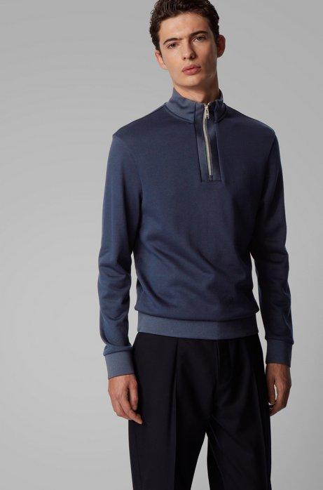 Regular-fit sweater van katoenen sweatstof met kwartrits, Donkerblauw