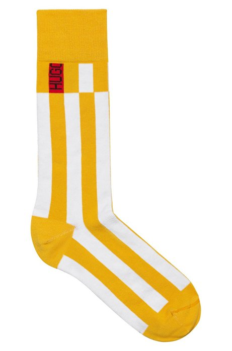 Regular-length socks in stretch fabric with vertical stripes, Yellow
