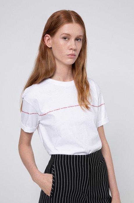 Camiseta de algodón Recot²® con estampado del eslogan repetido, Blanco
