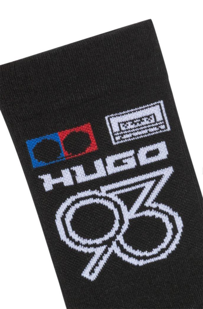 Chaussettes mi-mollet avec motif intarsia «HUGO 93»