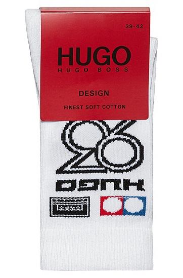HUGO '93 嵌花短袜,  100_白色