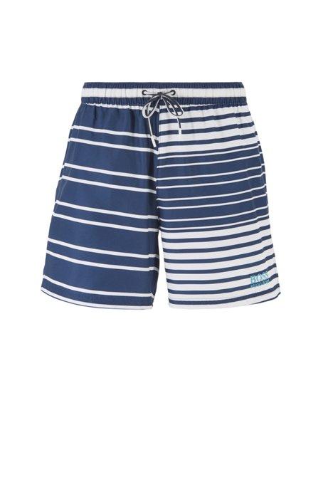 Short de bain en tissu à séchage rapide avec rayures plaquées, Bleu