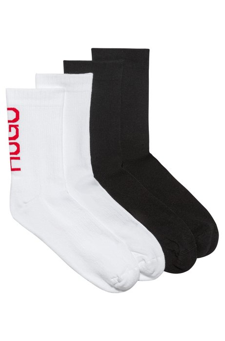 Set van twee paar sokken in kwartlengte met verticale logo's, Bedrukt