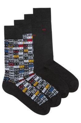 Set van twee paar sokken van een katoenmix, effen en met dessin, Zwart