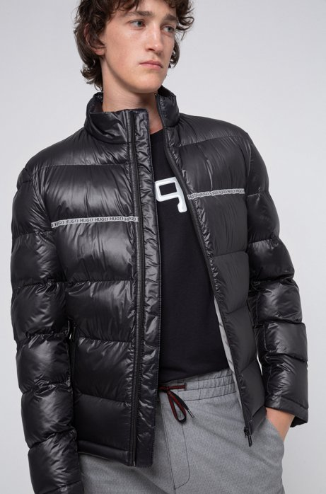 Slim-fit quilted jacket with logo-tape detailing, Black