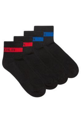 Two-pack of short-length socks with slogan stripe, Black