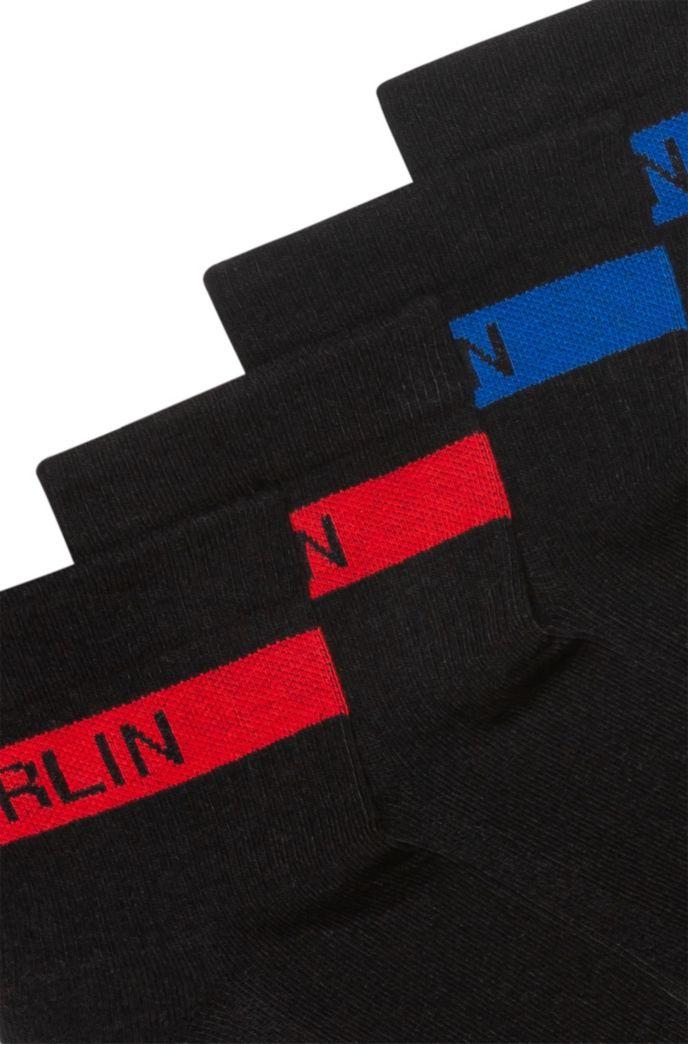 Lot de deux paires de chaussettes courtes avec bande à message