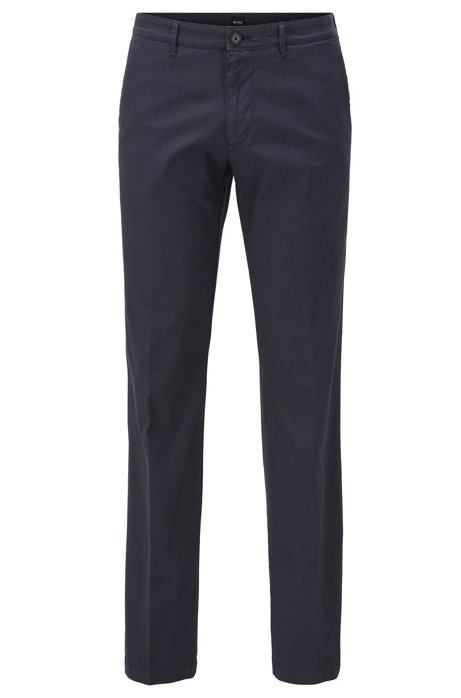 Chino Regular Fit en coton stretch structuré, Bleu foncé
