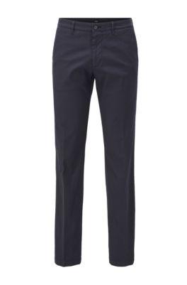 Chino Regular Fit en coton stretch structuré, Bleu foncé