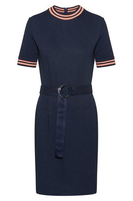 Slim-fit dress in stretch jersey with stripe details, Dark Blue