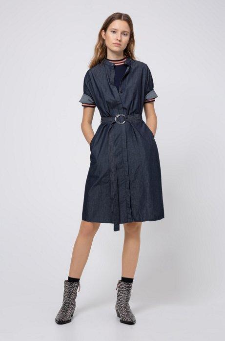 Slim-fit jurk van stretchjersey met streepdetails, Donkerblauw