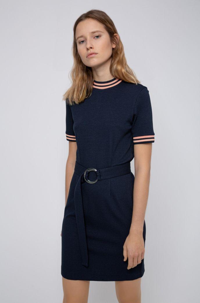 Slim-fit jurk van stretchjersey met streepdetails