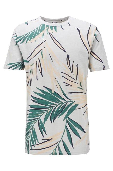 T-Shirt aus strukturiertem Baumwoll-Jersey mit Safari-Print, Silber