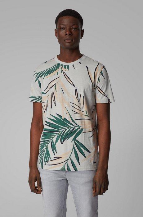 T-shirt in jersey di cotone slub-yarn con stampa stile safari, Argento