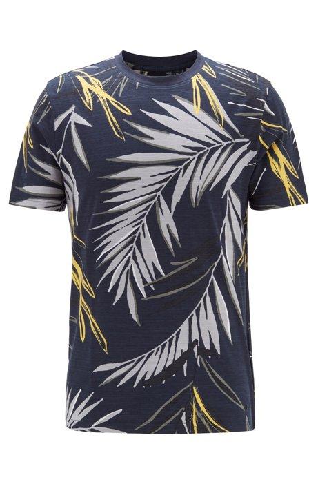 T-Shirt aus strukturiertem Baumwoll-Jersey mit Safari-Print, Dunkelblau