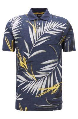 Poloshirt aus strukturiertem Baumwoll-Jersey mit Blätter-Print, Dunkelblau