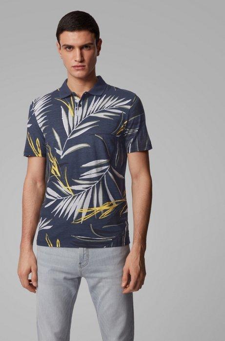 Polo en jersey de coton flammé à imprimé feuilles, Bleu foncé