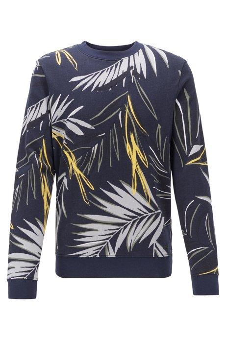 Leaf-print sweatshirt in cotton terry, Dark Blue